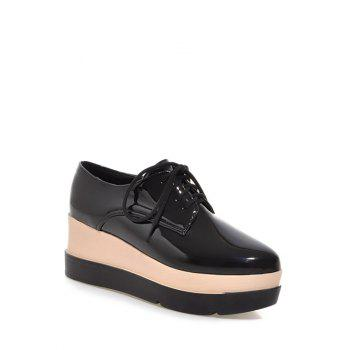Platform Tie Up Pointed Toe Wedege Shoes - BLACK 38
