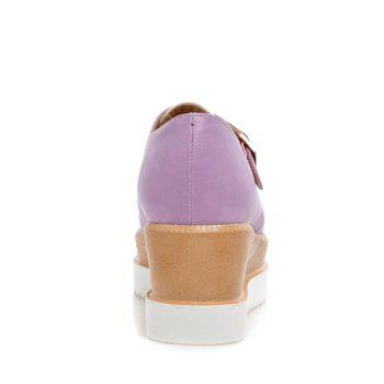Square Toe Color Splicing Buckle Wedge Shoes - 39 39