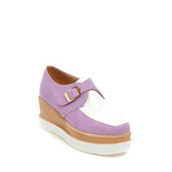 Square Toe Shoes Couleur Splicing Buckle Wedge - Blanc / Pourpre 39