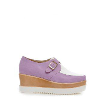Square Toe Color Splicing Buckle Wedge Shoes - WHITE AND PURPLE 39