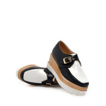 Square Toe Shoes Couleur Splicing Buckle Wedge - Blanc et Noir 37