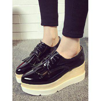 Chaussures Plate-forme Tie Up Fringe Wedge - Noir 39