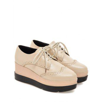 Platform Engraving Lace-Up Wedge Shoes - LIGHT APRICOT LIGHT APRICOT