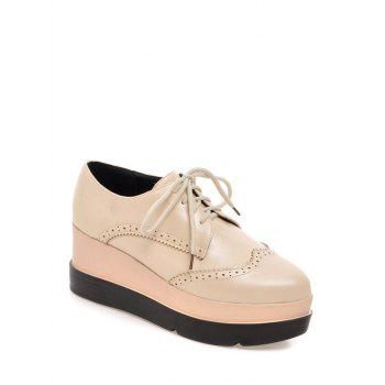 Platform Engraving Lace-Up Wedge Shoes - LIGHT APRICOT 38