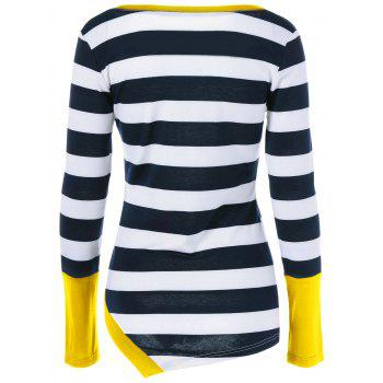 Button Embellished Asymmetric Long Sleeve Striped T-Shirt - YELLOW XL