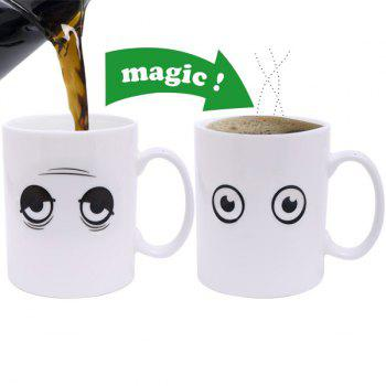 Creative Wake Up Expression Pattern Ceramic Heat Reactive DIY Color Changing Mug For Gifts