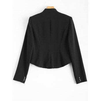 Buttoned Cropped Blazer - BLACK ONE SIZE