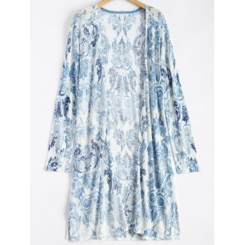 Printed Open Front Duster Coat