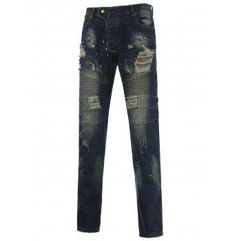 Narrow Feet Splatter Paint Holes Design Jeans