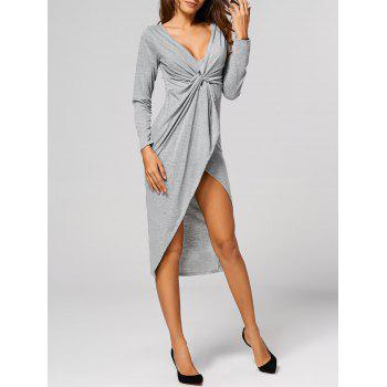 Asymmetric Formal Wrap Draped Dress