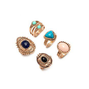 Alloy Faux Gem Ring Set