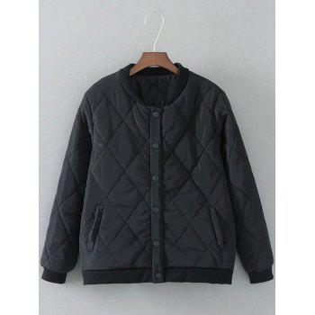 Diamond-Pattern Padded Bomber Jacket
