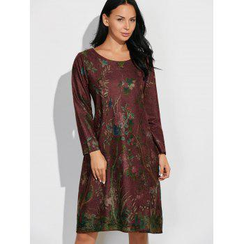 Floral Vintage Loose Dress - DARK RED DARK RED