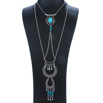 Floral Faux Turquoise Layered Necklace - SILVER SILVER