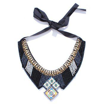 Metal Enamel Square Beaded Geometric Bib Necklace