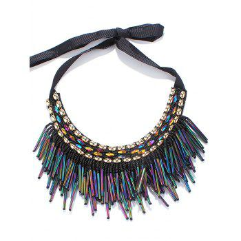 Zircon Beaded Tassel Ribbon Necklace