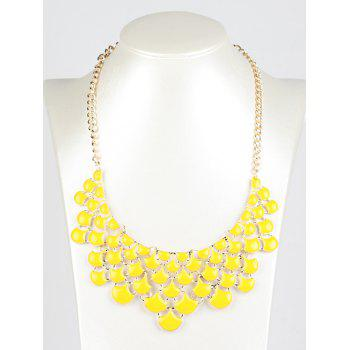 Hollowed Faux Gem Pendant Necklace - YELLOW YELLOW