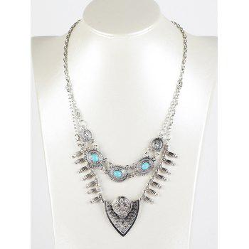 Faux Turquoise Layered Shield Necklace