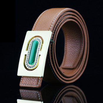 Casual Rectangle Buckle PU Rhinestone Emboss Belt - ANTIQUE BROWN ANTIQUE BROWN