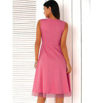 Ladylike Pure Color Mesh Spliced Dress