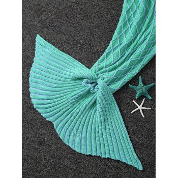 Keep Warm Knitted Rhombus Design Mermaid Tail Blanket - LIGHT GREEN