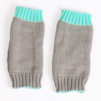 Color Block Fingerless Gloves -  TIFFANY BLUE