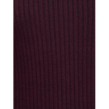 Maxi Slit Ribbed Long Sleeve Winter Dress - WINE RED XL