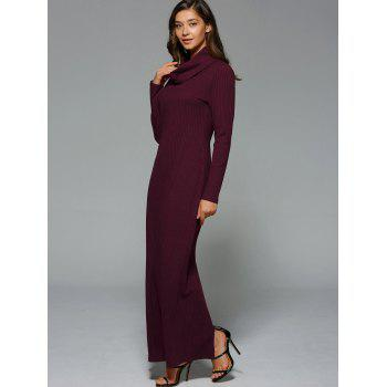 Maxi Slit Ribbed Long Sleeve Winter Dress - WINE RED L