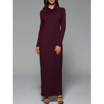 Maxi Slit Ribbed Long Sleeve Winter Dress - WINE RED S