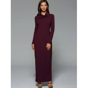 Turtleneck Slit Knit Maxi Dress