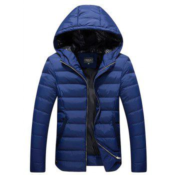Stand Collar Hooded Thicken Quilted Zip-Up Jacket