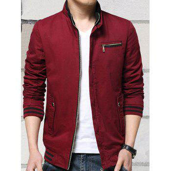 Zip-Up Raglan Sleeve Stand Collar Jacket