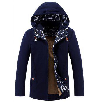 Printed Keep Warm Zip-Up Hooded Jacket