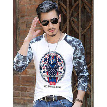 Owl Pattern Floral Printed Sleeve T-Shirt