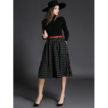 Ribbed Knitwear With Plaid Belted Skirt - BLACK L