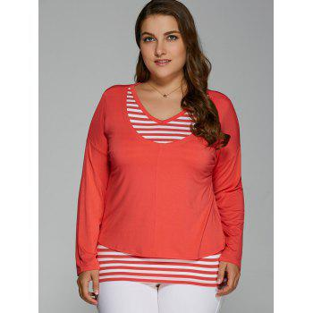 V Neck Plus Size Striped Overlay Long Sleeve T-Shirt