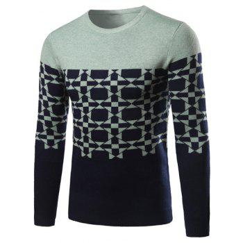 Contrast Color Geometric Pattern Crew Neck Sweater
