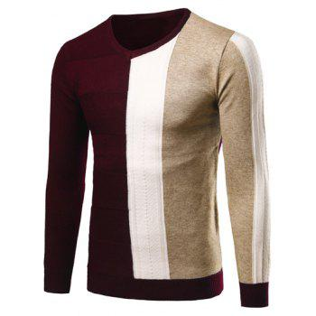 Color Matching V-Neck Rib Cuff Pullover Sweater