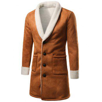 Plush Lining Shawl Collar Patch Pocket Longline Coat