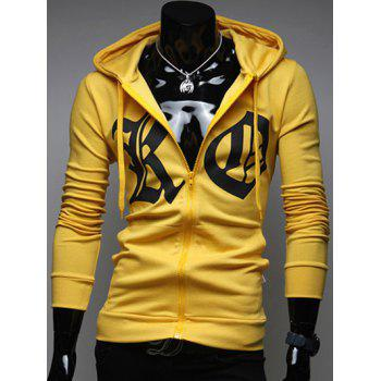 Zip Up Pocket Front Drawstring Graphic Hoodie