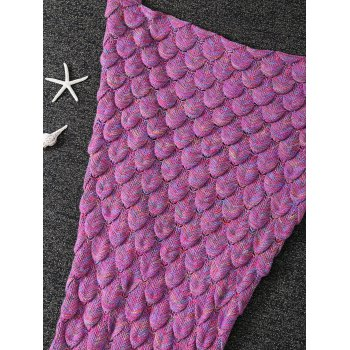 Warm Knitted Fish Scale Sleeping Bag Wrap Mermaid Tail Blanket - ROSE RED