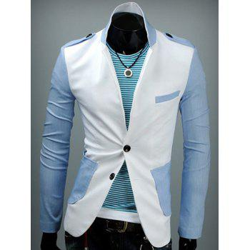 Back Vent Epaulet Design Patch Pocket Two Tone Blazer
