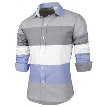 Buy Long Sleeve Contrast Color Striped Shirt GRAY