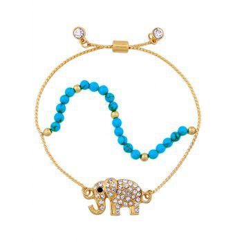 Rhinestone Elephant Layered Beaded Charm Bracelet