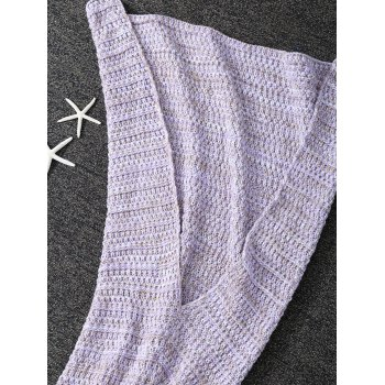Handmade Knitted Sleeping Bag Wrap Kids Mermaid Tail Blanket -  PURPLE