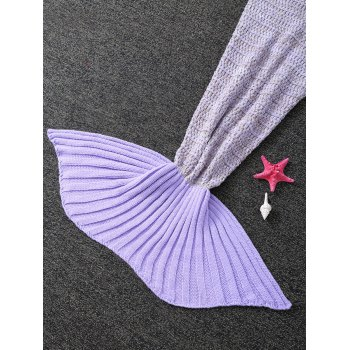 Handmade Tricoté Sac de couchage Wrap enfants Mermaid Tail Blanket - Pourpre
