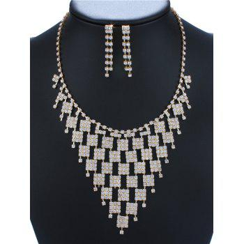 Rhinestoned Geometric Necklace and Earrings