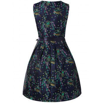 Birds Print Tie Belt Dress - SAPPHIRE BLUE XL