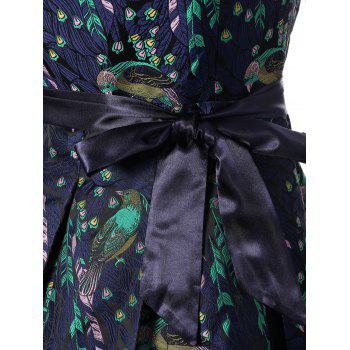 Birds Print Tie Belt Dress - SAPPHIRE BLUE L