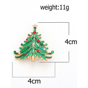 Rhinestone Pentagram Christmas Tree Brooch -  GREEN